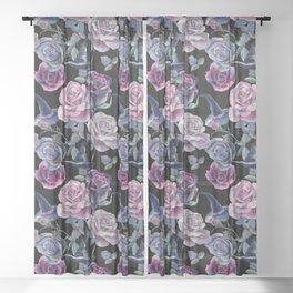 Dark flowers Sheer Curtain