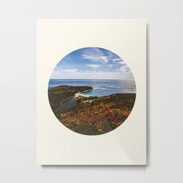 Autumn Forest Meets Ocean Metal Print