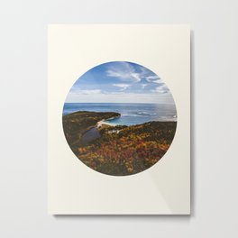 Autumn Forest Meets Ocean Metal Print