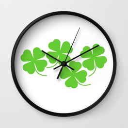 Four Leaf Clover Lucky Shamrock Cluster in White Background Wall Clock
