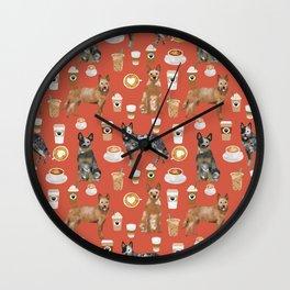 Australian Cattle Dog coffee pet friendly dog breed dog pattern art Wall Clock
