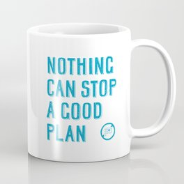 Nothing can stop a good plan - hand lettering quote Blue geek and nerds design Laptop sticke Coffee Mug