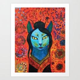 Kitty Geisha Art Print