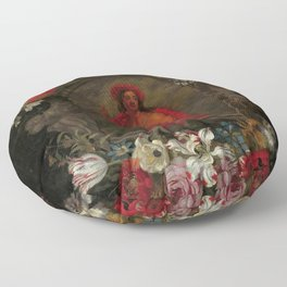 """Jan Brueghel The Elder """"Cartouche with a personification of America, surrounded by flowers"""" Floor Pillow"""