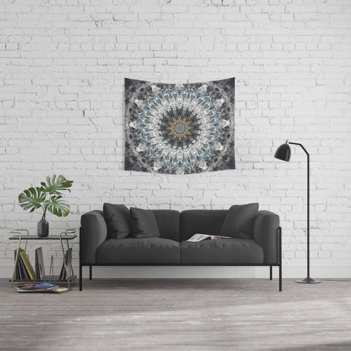 Gray, blue Mandala Wall Tapestry