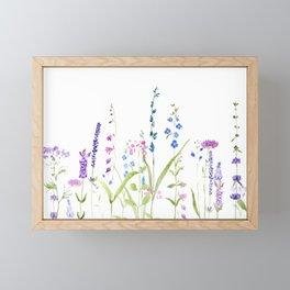 purple blue wild flowers watercolor painting Framed Mini Art Print