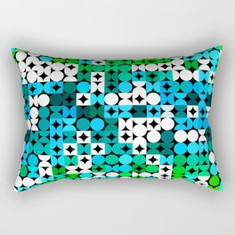 White Turquoise Teal Blue Lime Green Retro Abstract Circles Squares Pattern Rectangular Pillow