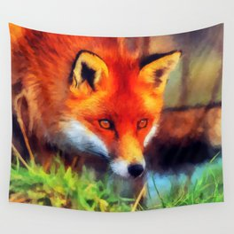 Watercolor Fox Wall Tapestry