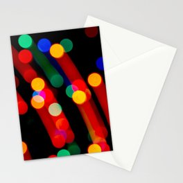 Bokeh Christmas Lights With Light Trails Stationery Cards