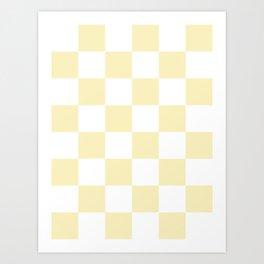 Large Checkered - White and Blond Yellow Art Print