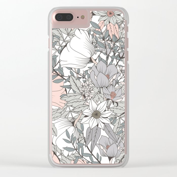 Gray and Pink Floral Pattern Clear iPhone Case
