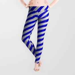Blue & Light Grey Colored Stripes Pattern Leggings
