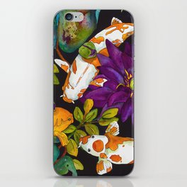 Purple Lily and Koi iPhone Skin