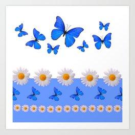 BABY BLUE MODERN ART BLUE BUTTERFLIES & WHITE DAISIES Art Print