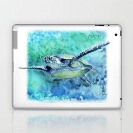 Swimming Turtle In Watercolor Laptop & iPad Skin
