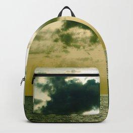 Green Sepia Monochromatic Ocean Clouds Photo Sun Shining Through Clouds Backpack