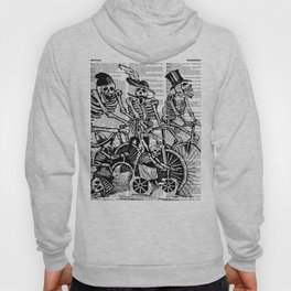 Calavera Cyclists | Skeletons on Bikes | Day of the Dead | Dia de los Muertos | Black and White | Hoody