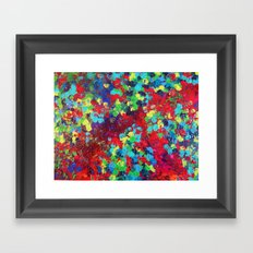 POND IN PIGMENT - Bright Bold Neon Abstract Acylic Floral Aquatic Painting Dots Pattern Trendy Gift  Framed Art Print