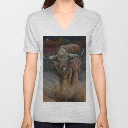 The Texas Longhorn Bull Unisex V-Neck