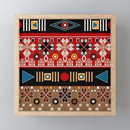 African ethno tribal traditional patterns, oriental pattern, patchwork Framed Mini Art Print