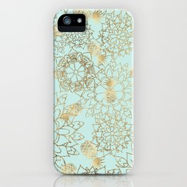 Modern teal faux gold pineapple floral illustration iPhone Case