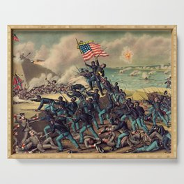 African American Civil War Troops Storming Fort Wagner Landscape Serving Tray