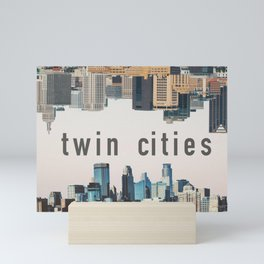Twin Cities Minneapolis and Saint Paul Minnesota Skylines Mini Art Print