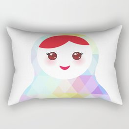 Russian doll matryoshka with bright rhombus on white background, rainbow pastel colors Rectangular Pillow
