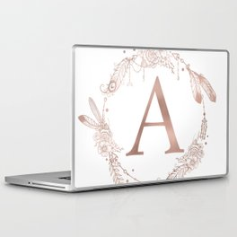 Letter A Rose Gold Pink Initial Monogram Laptop & iPad Skin