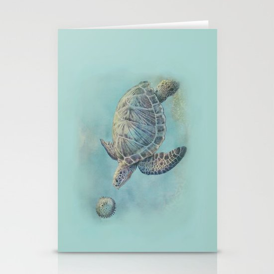 A Curious Friend (sea turtle variation) Stationery Cards