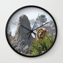 LION NEAR GRAY ROCK Wall Clock