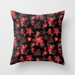 Fishnet red flowers on a black background. Throw Pillow