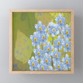 Forget-me-not flowers - watercolor art on green background Framed Mini Art Print