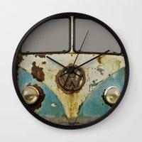 vw Wall Clocks featuring VW Rusty by Alice Gosling