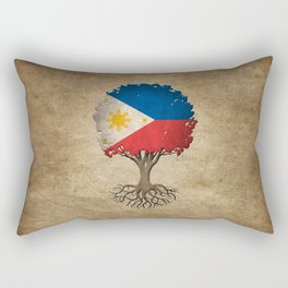 Vintage Tree of Life with Flag of Philippines Rectangular Pillow