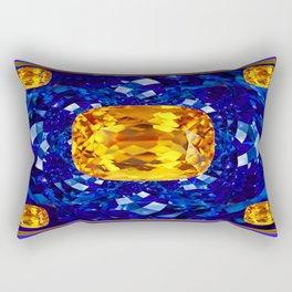 Golden Topaz Birthstones on Glittering Sapphire Blue Art Design Rectangular Pillow