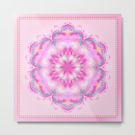 Wedding Day Pink Mandala Trendy Design, Holiday Decoration. Metal Print