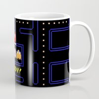 pac man Mugs featuring Pac Man by Trash Apparel