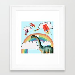 """busy skies"", thought the dinosaur Framed Art Print"