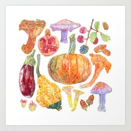 Seasonal Fruits Art Print
