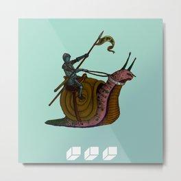 Knight on a Snail FLO Metal Print
