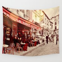 cafe Wall Tapestries featuring Coffehouse, Sidewalk Cafe by DistinctyDesign