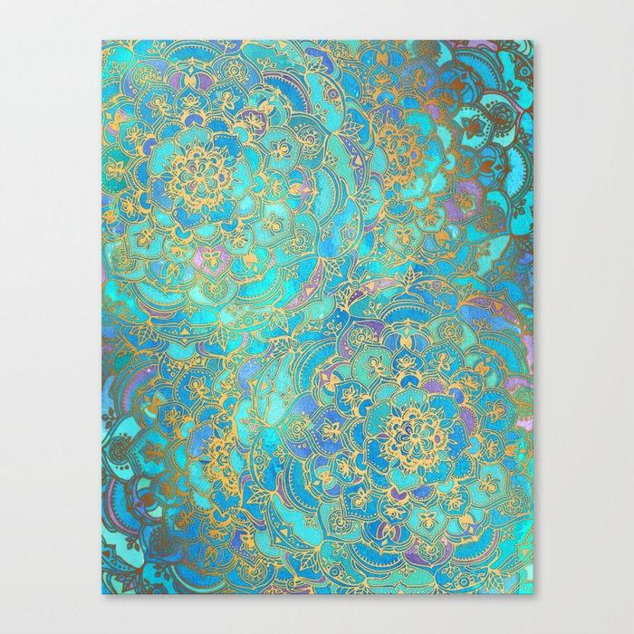 Sapphire & Jade Stained Glass Mandalas Leinwanddruck