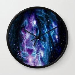 Leo Galaxy Lion : Purple Blue Wall Clock