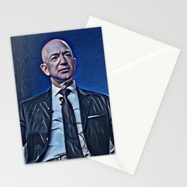 Jeff Bezos Talking Artistic Illustration Deep Blue Style Stationery Cards