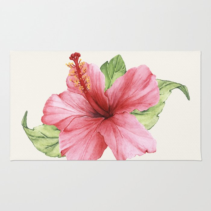 Tropical Pink Hibiscus Flower Rug