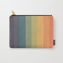 Colorful Retro Striped Rainbow Carry-All Pouch