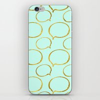 gold foil iPhone & iPod Skins featuring Mint Gold Foil 01 by Aloke Design