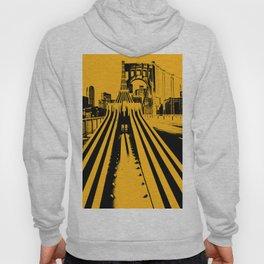 Pittsburgh City Skyline Bridge Pop Art Black Gold Print Hoody