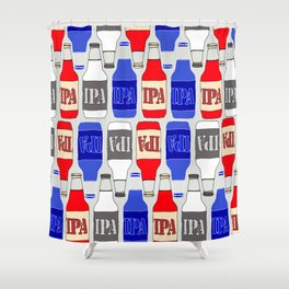 red white and blue IPA beer pattern Shower Curtain